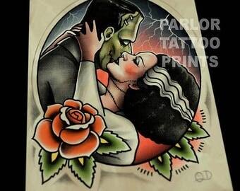 Frankenstein and Bride Kiss Tattoo Flash Art Print