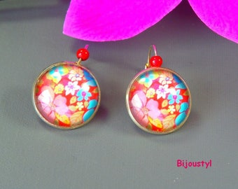 Stud Earrings - Cabochon 20 mm - red flower picture