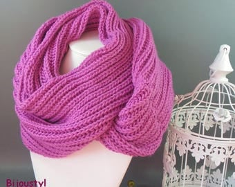 Scarf * stitch knit English * old rose color