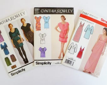 Destash LOT 3 Cynthia Rowley Dresses, Skirts, Tunic Tops Sewing Patterns Simplicity 2305, 2361, 2587 Sizes 4 6 8 10 12 All Uncut