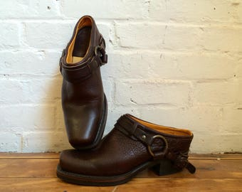 vintage Frye genuine leather harness mule clog southwestern shoes women's size 9