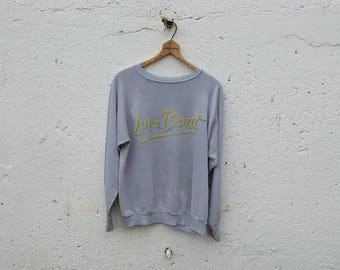 Love Boat vintage gray sweatshirt outerwear yellow blue hipster graphic thin