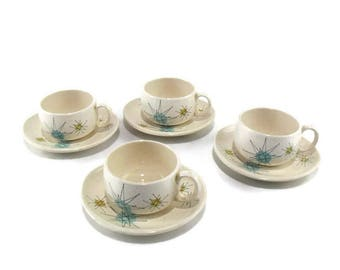 Vintage Franciscan Starburst Flat Cup and Saucer * Atomic Age * Mid Century Dishes * Set of 4