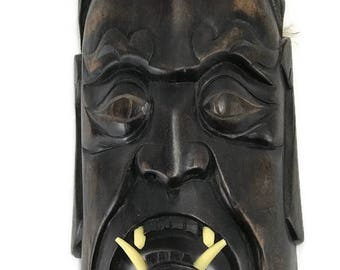 Hand Carved Wood Mask Wall Hanging * Tiki or African Decor