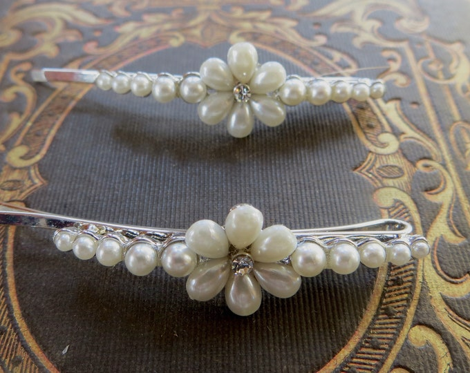 Pearl Hair Pins, Pearl Daisy Rhinestone Center, Silver Hair Clips, Wedding Prom