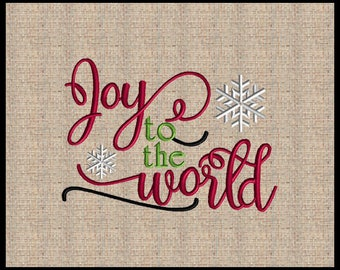 Joy to the world Christmas Embroidery Design machine embroidery design 4 sizes 4x6 up to 7x9