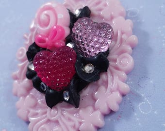 Decoden Style Necklace - Pink and Black Lollipop Cameo