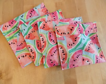 Set of 4 Watermelon reusable snack bags