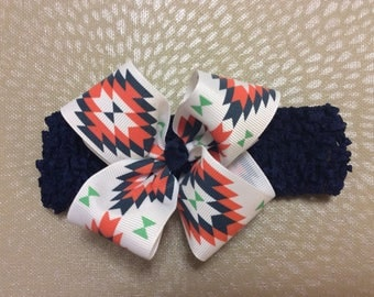 Aztec navy mint coral bow with crochet band