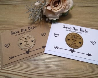 Wooden Save the Date Fridge Magnet with arrow and heart details