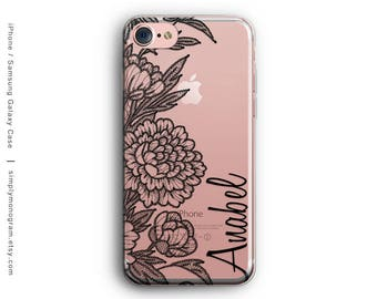 iPhone X Case, iPhone 8 Case, Personalized Floral Lace, iPhone 8 Plus Case, iPhone 7 Case, iPhone 6, Monogram, Galaxy S8 Case, Galaxy Case