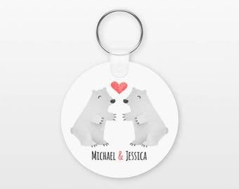 Polar Bear Keychain, Couple Keychain Personalized Keychain, Girlfriend Keychain Boyfriend Keychain, Animal Keychain, Key Chain, Keyring