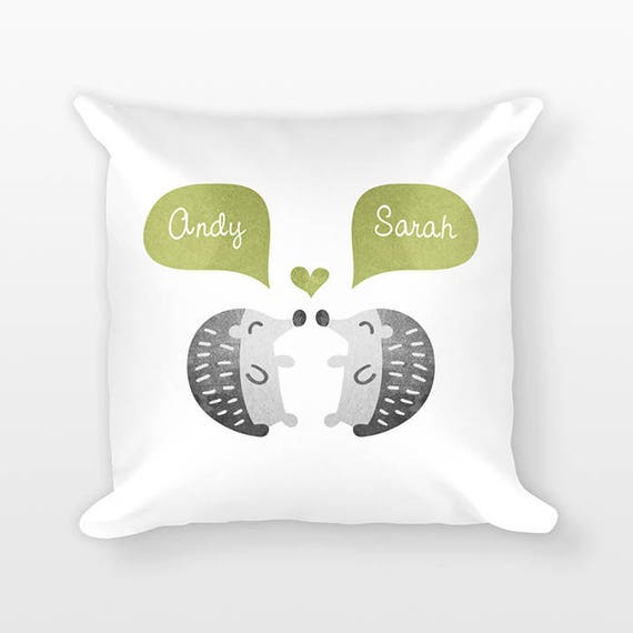 HEDGEHOG Pillow, Animal Couple Pillow, Personalized Pillow Decor, Anniversary Gift for Wife, Custom Throw Pillow, Decorative Pillow for Bed