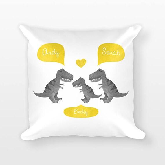 T-Rex Dinosaur Nursery Pillow, Personalized Baby Gift, Dinosaur Nursery Decor, Pillow for Kids Room Decor, Animal Nursery Throw Pillow