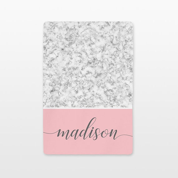 Marble Personalized Baby Blanket Custom Name Baby Girl Swaddle Throw Minky Fleece Unique New Baby Gift Idea Modern Trendy White Gray Pink