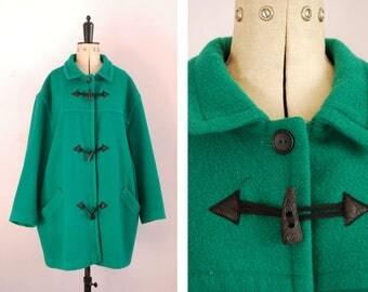 Vintage 1980s 90s Green wool hunter duffle coat - Toggle coat - Green wool coat - Vintage wool coat - Green duffle coat - Large wool coat