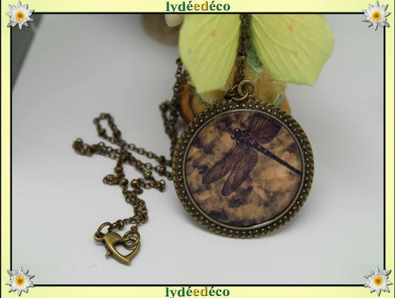 Vintage retro sepia Dragonfly resin and brass necklace, retro bronze 25mm Locket