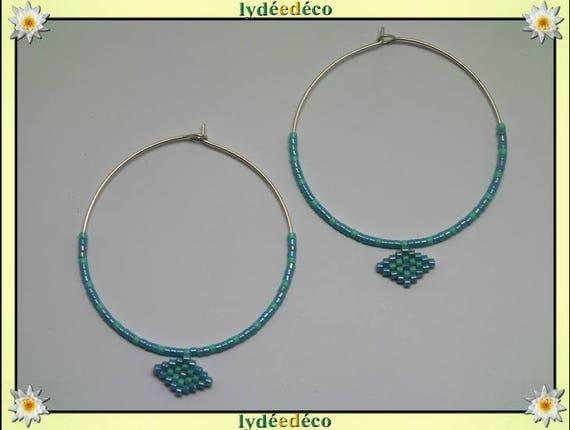 925 sterling silver hoop earrings beadwork Japanese blue green turquoise diameter 45mm round