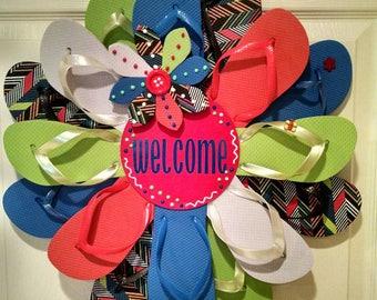 Basic Primary Colors Welcome Flip Flop Wreath Beachy Coastal Door Decor Luau Garden Patio