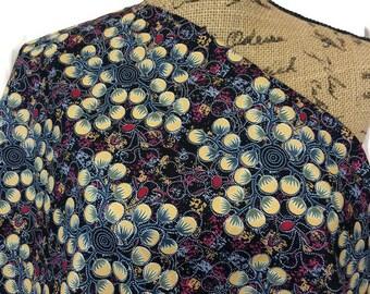 Aboriginal Fabric--Australian Fabric--Gathering Bush Tomato Black--Aboriginal Art--Cotton Quilt Fabric--Aboriginal Fabric by the HALF YARD