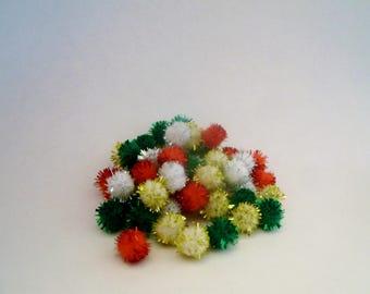 Mini Tinsel Pom Poms - 50 Ct - Christmas - Miniature Holiday Decor - Decoration - Accessory - Craft Supply