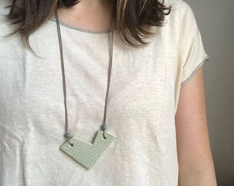 Sage Ceramic Necklace with Waxed Cotton Cord