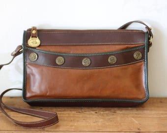Vintage BRAHMIN Leather Zip Top Handbag / Brown Leather Handbag / Vintage Brahmin Purse