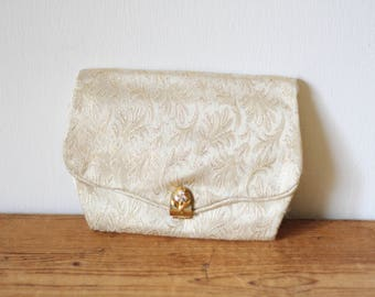 Vintage Cream Gold Brocade Envelope Clutch / Vintage Wedding Formal Evening Bag / Fabric Purse Organizer 070917-21