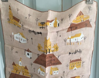Vintage Hankie, Emily Whaley, Governors Palace, Williamsburg, Virginia, MCM, Horse, House, Tree, Carriage, Colonial, Americana