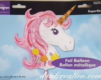 Unicorn mylar balloon.