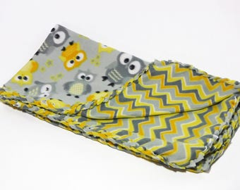 Yellow Gray Owls, Fleece Blanket, No Sew Blanket, No Sew Fleece Kit, Baby Blanket, Plaid, Braided, Personalize, Embroider, Baby Shower Gift