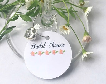 10 x Bridal Shower champagne name card charms- FLORAL