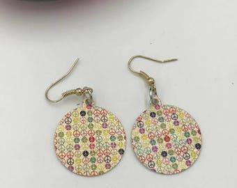 Peace Earrings, Round Peace Earrings