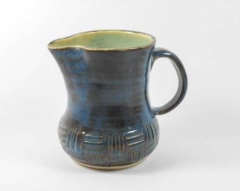 Small pottery pitcher - pottery creamer - small blue vase - carved blue pitcher - blue ceramic pitcher S137