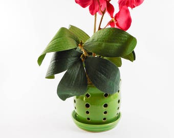 Ceramic orchid pot - orchid cachepot - pottery orchid pot - green orchid pot - orchid planter  V182