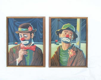 Kitsch Wall Art - 'Emmett Kelly' Paint By Numbers - Mid Century Fun - Framed Clowns - Painting Technique With Classic Clown - Bright Colors
