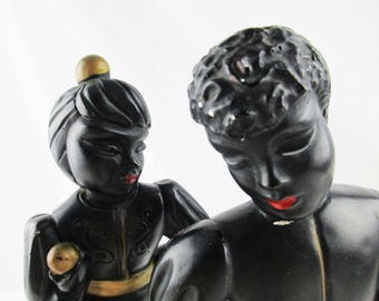 Black Painted Plastercast 'Jugglers' Statues - ABCO No. 264 and 265 - Blackamoor Figures - Cast Plaster - Gold Detail on Black