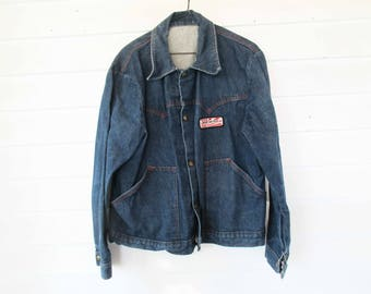 BoHo Denim Jacket - Red Stitched and Brass Snaps - Size Small to Medium - Slash Pockets - 'Golden Sun Feeds' Tag - Great Style - 100% Cotton