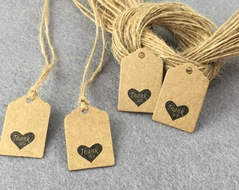 Lot 10 labels 3 x 2 cm heart thank you kraft cardstock tags