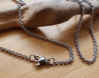 Steel carabiner width 2 mm necklace bracelet choice of length rolo link chain
