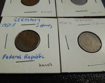 German Coins, West Germany 1950 to 1988, 5 Pfennig - Sell By The Piece