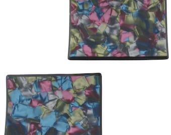 Vintage Shoe Clip Pair Buckle Celluloid France Pink Blue Black 1960s