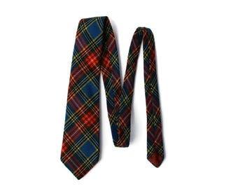 Vintage Men's Wool Tartan Plaid Necktie Michelsons London England
