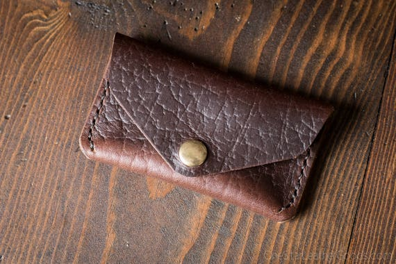Coin pouch / wallet / business card case with snap, Horween Chromexcel leather - textured brown