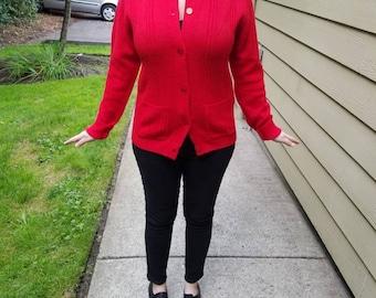 Cherry Red Vintage Cardigan