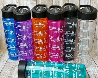 Personalized Intake Water Bottles / Intake Water Bottle / Motivational Bottles / Personalized Water Bottles / Water Intake Tracker