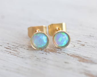 Opal studs,opal gold studs,blue opal stud earrings,minimalist earrings,tiny gold studs,opal earrings,gift for her - 21030