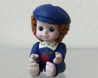 "Dollhouse Miniature 1"" scale Fimo Boy Child dressed in blue  (JL)"