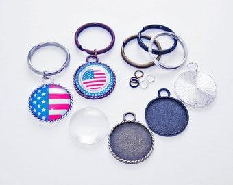 5- Braided Edge DIY Keychain Craft Kits - 5- 1 inch Braided Edge Trays, 5- 1 inch Heavy Duty Split Rings, 5- 1 inch Glass Cabs, 5-Jump Rings