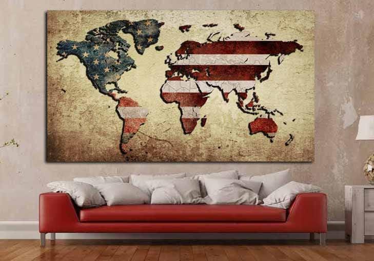 office world map. American Flag World Map,World Map Wall Art,World Canvas,World Print,World Canvas Office Art, F